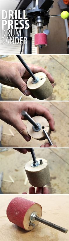 Turn your drill press into a drum sander by making your own spindles to hold sandpaper. This easy afternoon workshop project is great for sanding inside a concave curve, a difficult task for belt or random orbital sanders.