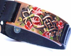 Painted Rose Black Leather Cuff Bracelet Romantic Victorian Boho Jewelry FREE SHIPPING