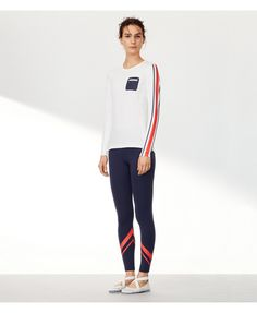 Tory Sport Performance Striped Top