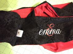 "Custom embroidered Infinity Scarf in Red Sparkle Jersey Knit and Black Burnished Damask. 5"" wide by 70"" loop. For Emma - Handmade in USA by Studio 210 Embroidery etc. available at www.Facebook.com/Studio210etc"