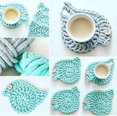 Crochet bird coaster