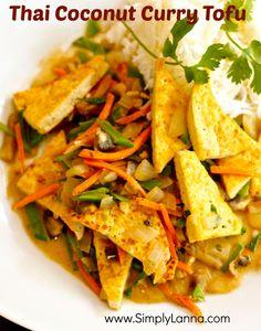 Thai Coconut Curry Tofu (Light, vegan, gluten free)