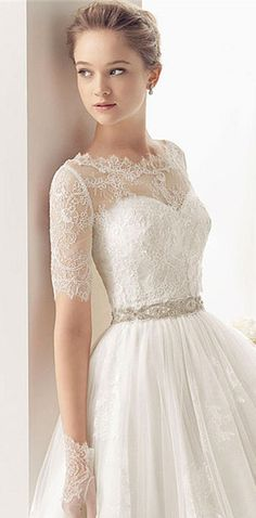 Dainty lace, perfect length sleeves - wedding dress wedding dresses - Rosa Clara MAGNO