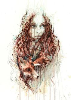 Woman Tattoo | Carne Griffiths....I have no connection to this woman or the foxes but using her as the inspiration, the possibilities are endless.....