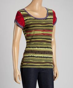 Look at this #zulilyfind! Green & Red Tribal Studded Scoop Neck Top - Women & Plus by Coline USA #zulilyfinds