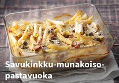 Savukinkku-munakoiso-pastavuoka, resepti: Valio #kauppahalli24 #munakoiso #pastavuoka #resepti #verkkoruokakauppa Hawaiian Pizza, Macaroni And Cheese, Waffles, French Toast, Pasta, Breakfast, Healthy, Ethnic Recipes, Food