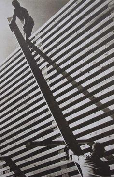 Photographie n°2– A.Rodtchenko, «Entasser les piles à la scierie», 1931