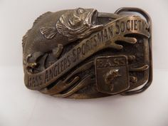 Vintage Bass Anglers Sportsman Society Solid Brass Belt Buckle Bass Fisherman's…