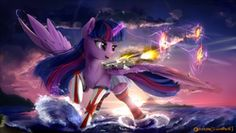Size: 1920x1080 | Tagged: alicorn, anime, artist:discordthege, clothes, crossover, giant pony, glowing horn, gun, kantai collection, macro, magic, ocean, open clothes, patreon, princess twilight, safe, skirt, smiling, socks, solo, spread wings, striped socks, sunset, thigh highs, twilight sparkle, water, weapon