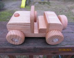Jeep All Natural red oak  hand finished with All Natural  Beeswax Get free with 6 car train set order!