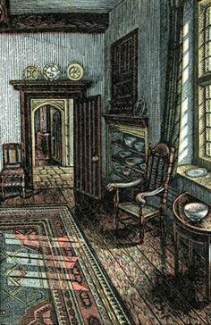 """Howard Phipps """"Morning Sunlight, Whittington Court"""" wood engraving"""