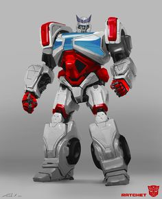 Ratchet from Transformers: Bumblebee. Ratchet was mostly and after thought after I designed Ironhide. We needed to populate the Cybertron scene with a lot of Autobots and we didn't have a lot of time to do it, so we essentially cloned my Ironhide Transformers Autobots, Transformers Bumblebee, Arc Reactor, Robot Concept Art, Futuristic Art, Ratchet, Animal Design, Design Art, Robot Design
