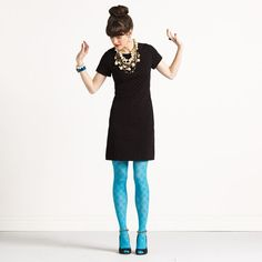 Basic Dress. Colored Tights. Chunky Jewelry. LOVE
