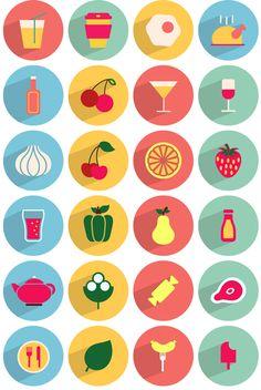50 icônes à télécharger gratuitement ! Flat Illustration, Food Illustrations, Creative Icon, Creative Design, Restaurant Icon, Design Food, Flat Design Icons, Web Design Projects, Food Icons
