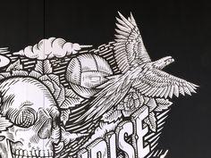 Detail: Handpainted Mural at O&R Building Brands.