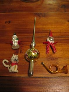 5 x old Cristmas glass balls:a Peak, a cat, a trumpet, a Santa Claus, and a male Glass Ball, Trumpet, Balls, Santa, Christmas Ornaments, Antiques, Holiday Decor, Home Decor, Antiquities