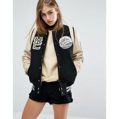 Schott Leather Varsity Bomber Jacket (8 285 ZAR) ❤ liked on Polyvore featuring outerwear, jackets, black, real leather jackets, letterman jackets, bomber jacket, leather bomber jacket and genuine leather jackets