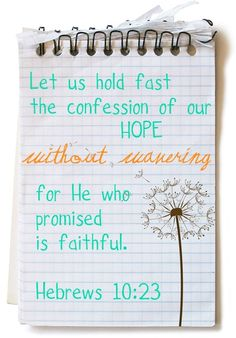 Hebrews 10:23  King James Version (KJV)  23 Let us hold fast the profession of our faith without wavering; (for he is faithful that promised;)
