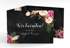 """Hochzeitseinladung """"Flowers"""" A6 doppelt geklappt schwarz"""