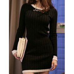 Stylish Round Collar Packet Buttock Knitted Long Sleeve Women's Dress SKU: GS5HNOMTG03 Color: BLACK, OFF WHITE Size: S,… #Vivoren #Fashion