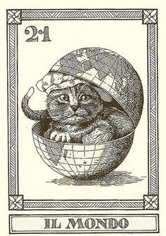 Gatti Il Meneghello, 1990Cat Tarot Cards by Osvaldo Menegazzi