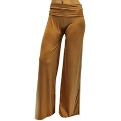 Khaki Long Gaucho Boho Flare Palazzo Stretchy Pants ($16) ❤ liked on Polyvore featuring pants, khaki, wide-leg pants, boho palazzo pants, brown khaki pants, wide leg palazzo pants and boho pants