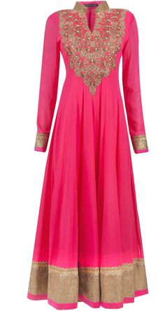 Embellished rani pink anarkali set available only at Pernia's Pop-Up Shop. by leila Red Lehenga, Anarkali Dress, Lehenga Choli, Bridal Lehenga, Mode Bollywood, Bollywood Fashion, Indian Attire, Indian Ethnic Wear, Indian Style