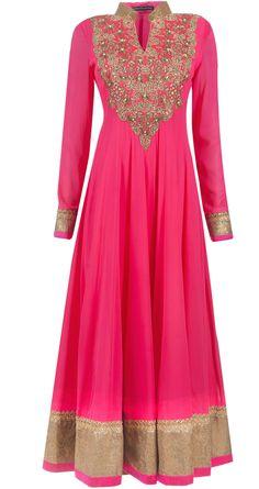 Embellished rani pink anarkali set by ANEESH AGARWAAL. Shop at http://www.perniaspopupshop.com/whats-new/aneesh-agarwaal-embellished-rani-pink-anarkali-set-anac0813dodu.html