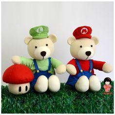 Ursinhos Mario e Luigi - Personalize o seu ursinho!