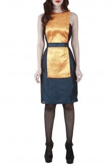 Gold Overlay Bib Dress By Michelle Salins  Rs. 11,500