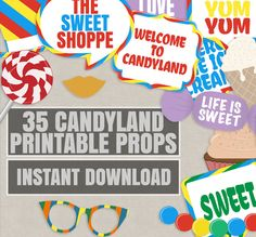 25 Candyland photo booth printable props, Sweet Shoppe props, sweet shop party theme decor, candyland party decor, candy photobooth props by YouGrewPrintables on Etsy Luau Theme Party, Party Props, Party Themes, Party Ideas, Theme Ideas, Decor Ideas, Candy Land Christmas, Candy Land Theme, Candy Party