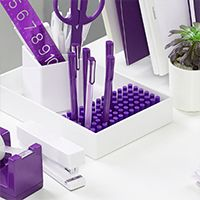 Purple Office Supplies | Poppin #purple   I am SO in love with this look-clean white and purple is pretty close to perfect!