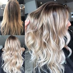 BLONDE OMBRE HAIR COLOR SUMMER, Blonde balayage, long hair, cool girl hair ✌️ Lived in hair colour Blonde bronde brunette golden tones Balayage face framing blonde Textured curls