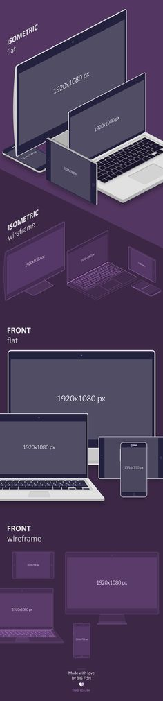 Free responsive mockups in flat & wireframe styles on Behance