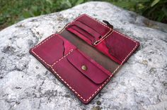 Red Leather billfold wallet for women unique by GalenLeather