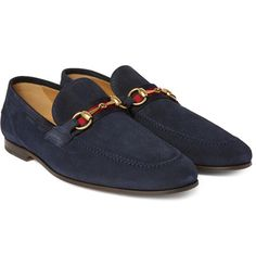 8cf1ab8ad91 Horsebit Webbing-Trimmed Suede Loafers