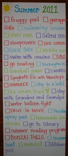 Let the kids make a list of fun things they want to do.