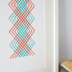 Orange & turquoise stitched A4 paper artwork. by PixelAndThread