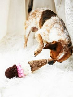 Hand Knit Ice Cream Dog Toy | Show your favorite furry friend some love with this hand knit delicious looking dog toy.