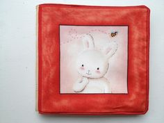 Bunny rabbit quilted baby book for a wonderful set of friends. Welcome, Brooke!