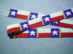Texas Flag Beaded Hat Band~Lone Star Flag Beaded
