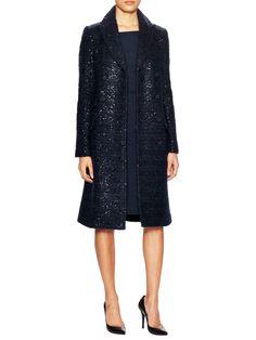 Mid Dietrich Tweed Coat evening sequins Diane Von Furstenberg navy
