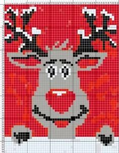 Brilliant Cross Stitch Embroidery Tips Ideas. Mesmerizing Cross Stitch Embroidery Tips Ideas. Christmas Crochet Blanket, Christmas Knitting, Christmas Cross, Rudolph Christmas, C2c Crochet, Crochet Cross, Crochet Chart, Knitting Charts, Knitting Stitches