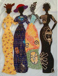 Black Art / Sisters in colorful dresses Paper Dolls, Art Dolls, African Quilts, African Fabric, Art Tribal, Natural Hair Art, Art Africain, Africa Art, Black Artwork