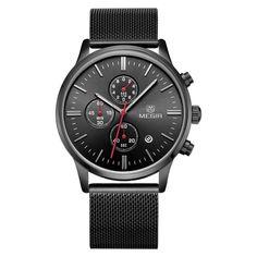9044fb8ea0c Baogela Mens Black Dial Military Stainless Steel Chronograph Quartz Wrist  Watch    Make sure to