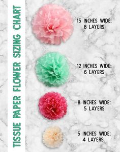 The ultimate guide to learn how to make tissue paper flowers. Photo and video tutorial, plus sizing charts, hanging tips and creative ways to use tissue paper flowers!