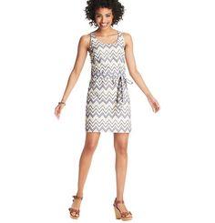Loft - Dresses: Casual Dresses, Shirt Dresses, Cotton & Sheath Dresses: LOFT - Zig Zag Cotton Eyelet Sleeveless Dress