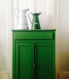 Vintage cupboard painted with Annie Sloan chalk paint in Antibes green and finished with clear and dark wax. From Find, Cows Lane, Temple Bar, Dublin City. by marian Painted Cupboards, Dark Wax, Antibes Green, Vintage Cupboard, Real Milk Paint Company, Living Room Decor Inspiration, Green Painted Furniture, Painted Bar Stools, Paint Bar