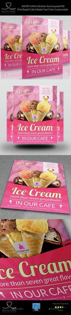 Ice Cream Flyer Template PSD Vol.4. Download here: http://graphicriver.net/item/ice-cream-flyer-template-vol4/15299094?s_rank=56&ref=yinkira