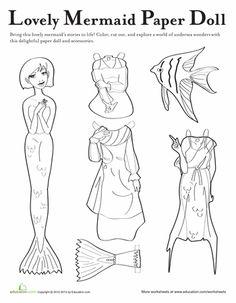 Worksheets: Mermaid Paper Doll